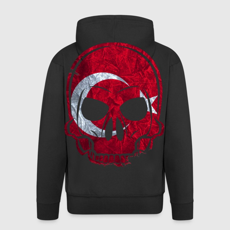 MMJ Turkey Flag Skull / Skull Hoodies & Sweatshirt - Men's Premium Hooded Jacket