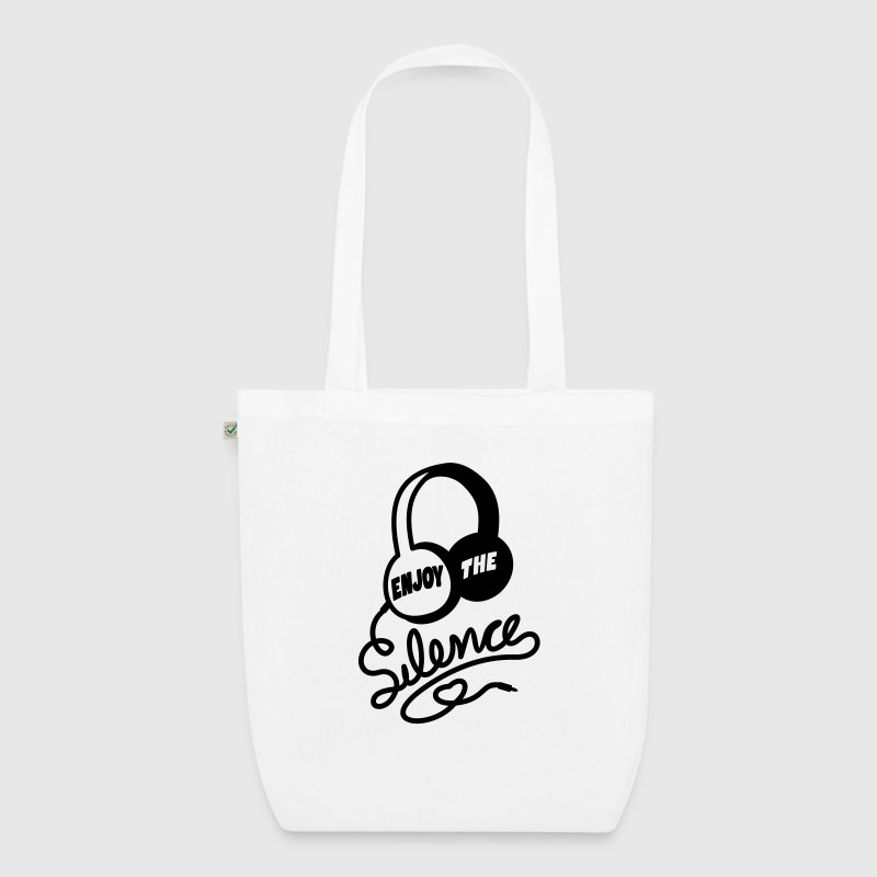 enjoy the silence - headphones music Bags & Backpacks - EarthPositive Tote Bag