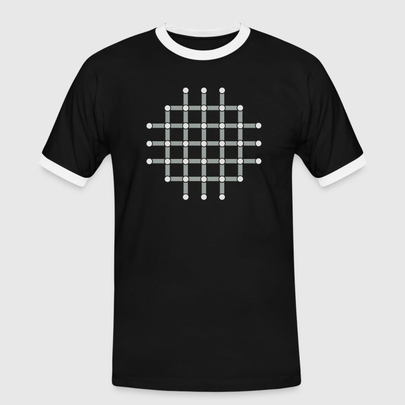 Optical illusion, Find the black dot! T-shirts - Mannen contrastshirt