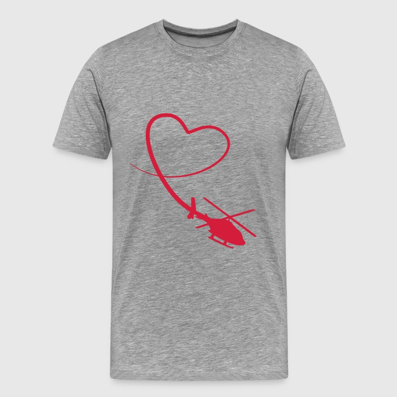 Helicopter Love Heart Looping T-Shirts - Men's Premium T-Shirt