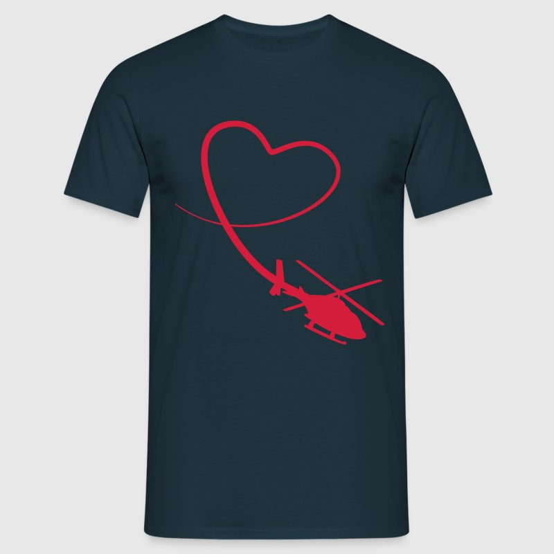 Hélicoptère amour coeur looping Tee shirts - T-shirt Homme