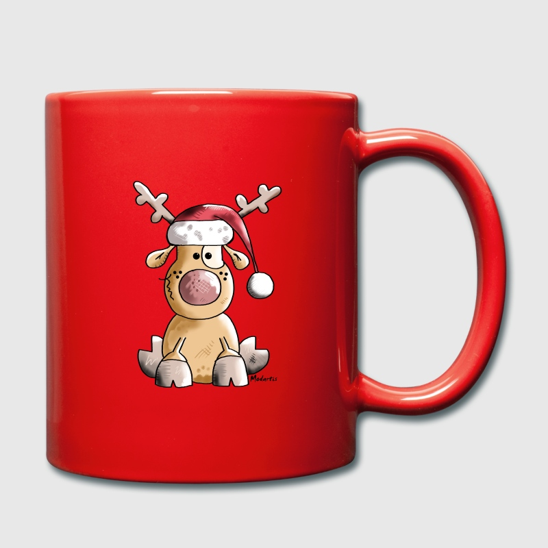 Funny Christmas Reindeer Cartoon Mug   Spreadshirt