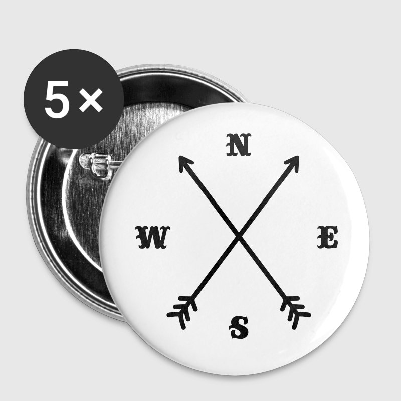 Hipster compass / Cross - Modern Trendy Outfit Buttons - Buttons small 25 mm