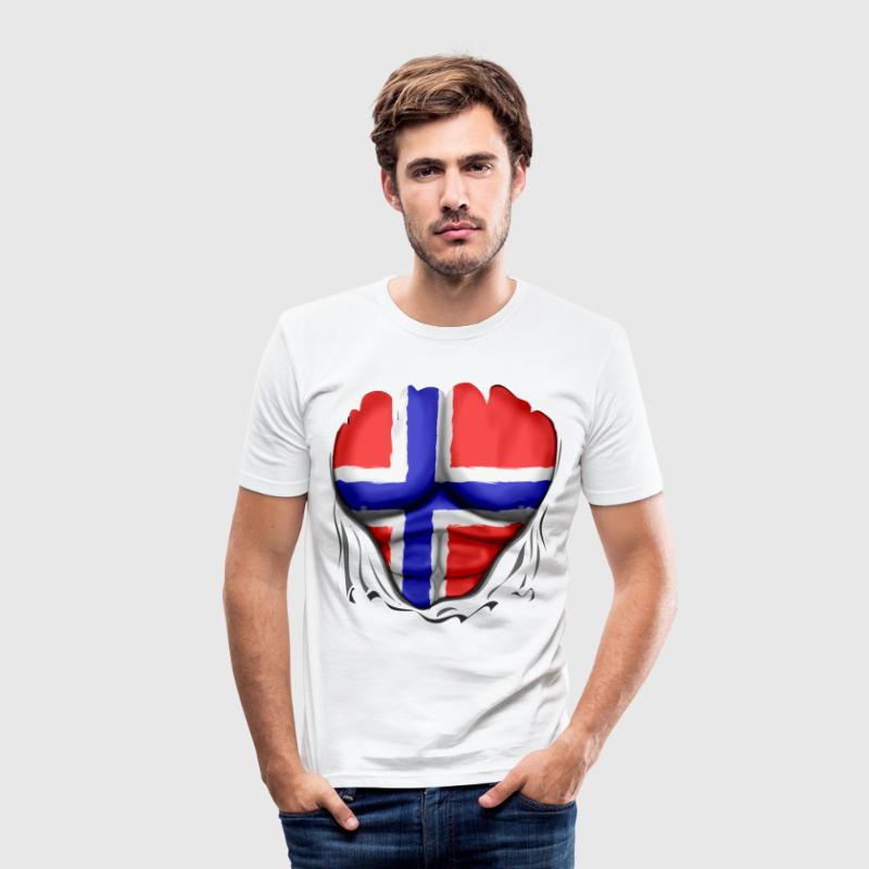 Norway Flag Ripped Muscles six pack chest t-shirt - Men's Slim Fit T-Shirt
