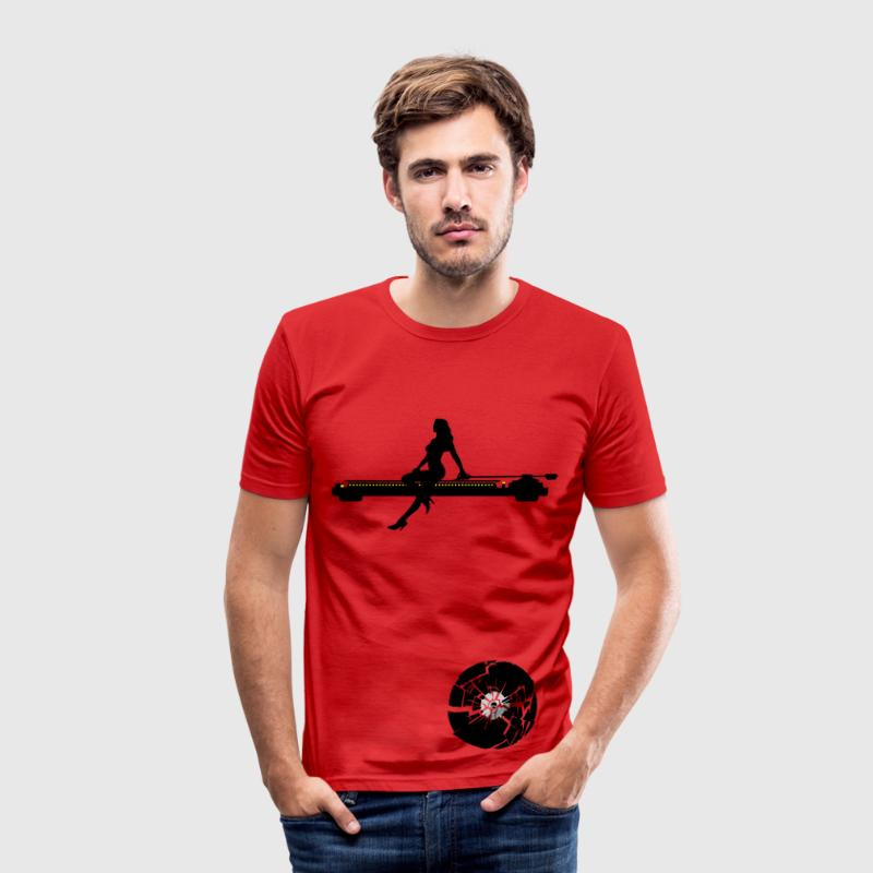 Rot trash vinyl T-Shirts (Kurzarm) - Männer Slim Fit T-Shirt