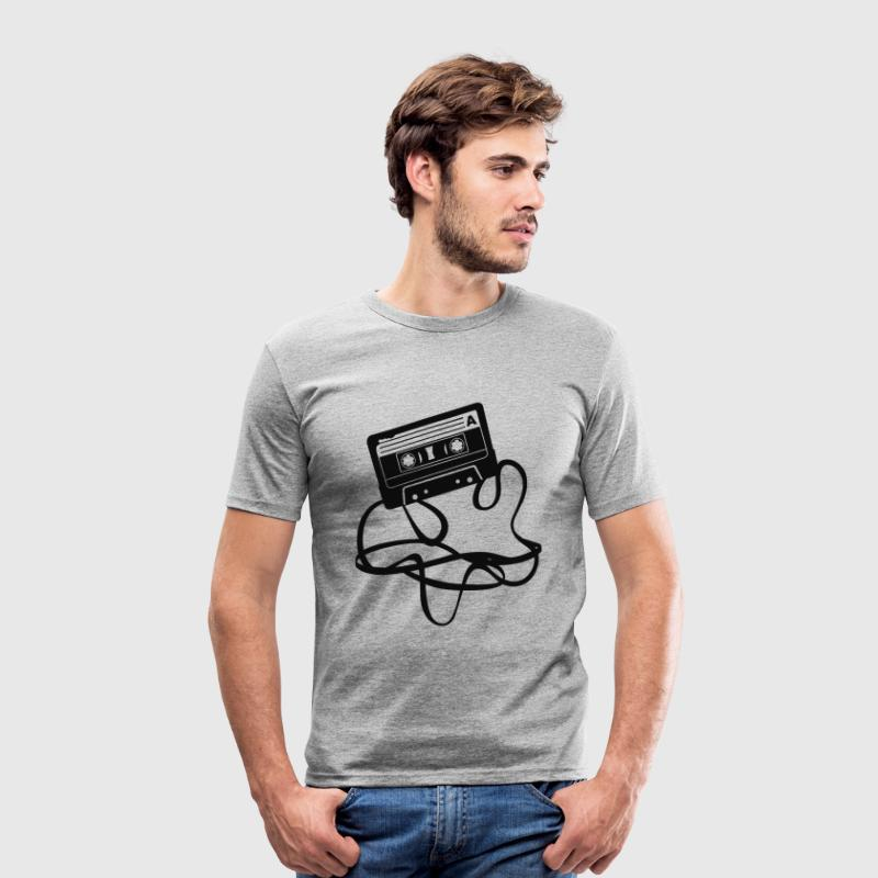 Grijs gespikkeld Cassette tape T-shirts - slim fit T-shirt