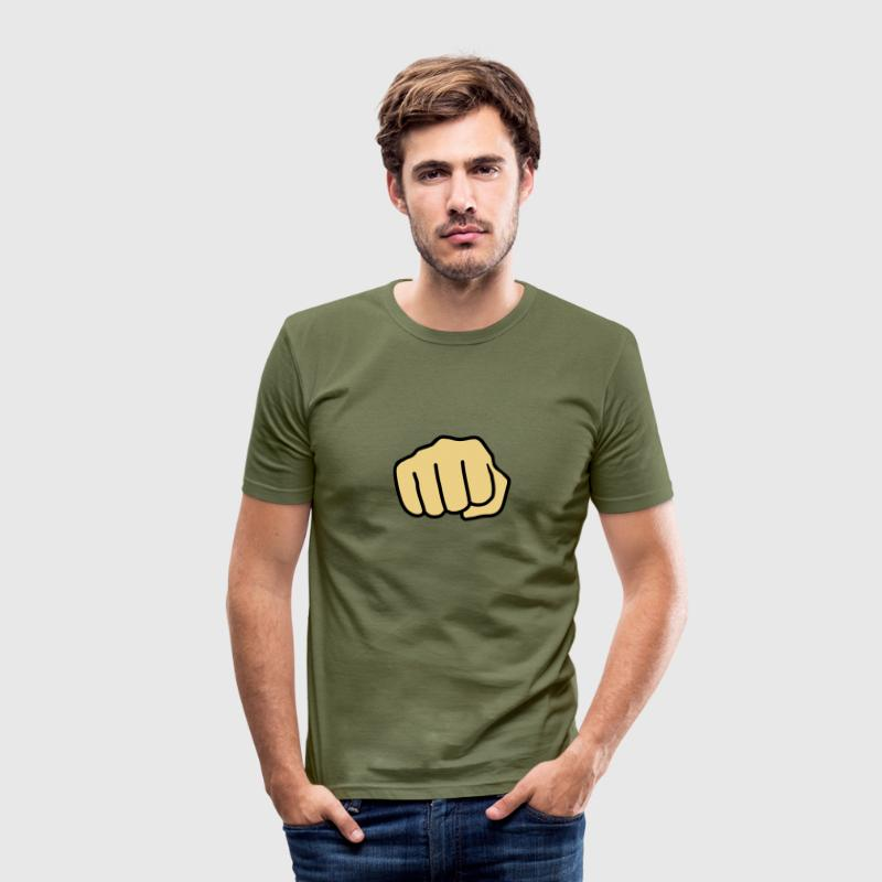 Fist, hand, punch, beat, fight, fight, finger, brass knuckles   - Men's Slim Fit T-Shirt