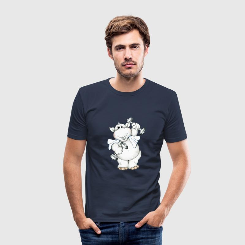 Fitness Hippo T-Shirts - Men's Slim Fit T-Shirt