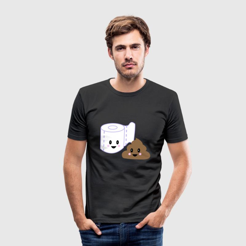 Toalett kawaii bajs - Slim Fit T-shirt herr