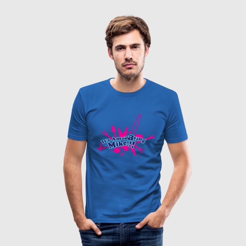 Sky blue Wow tellsell Mike! T-shirts - slim fit T-shirt