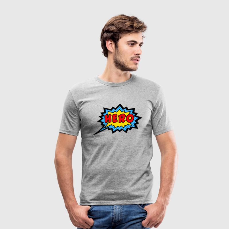 Comic, Hero, Speech Bubble, Superhero, Cartoon Camisetas - Camiseta ajustada hombre