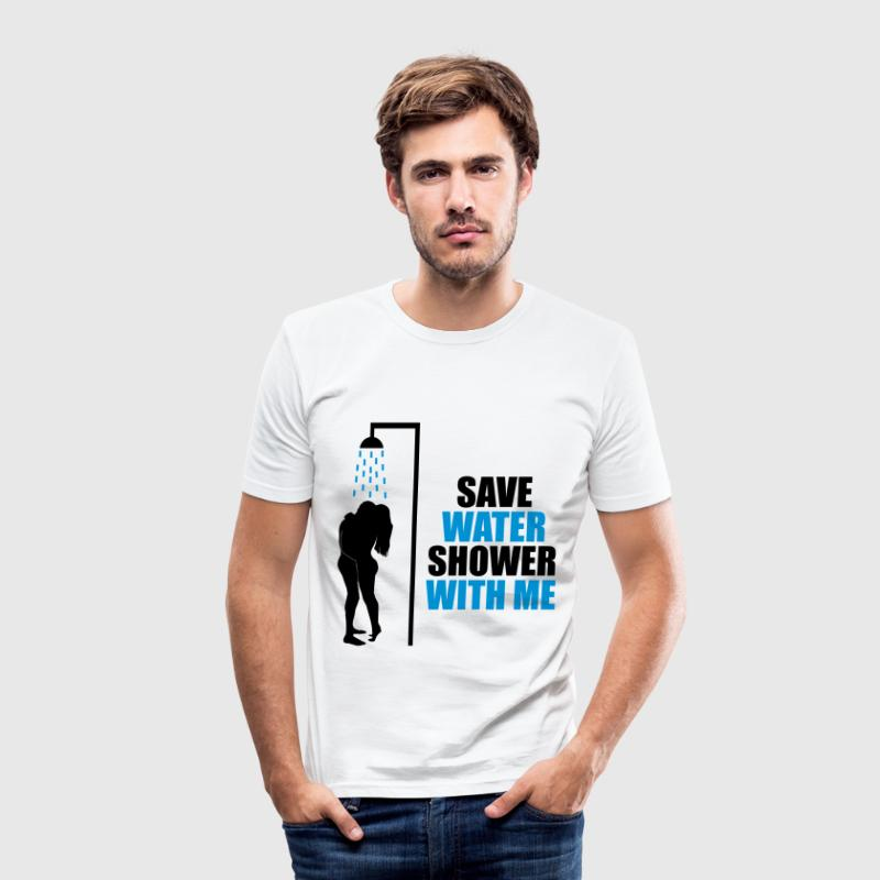 Cool Quote - Save water T-Shirts - Men's Slim Fit T-Shirt
