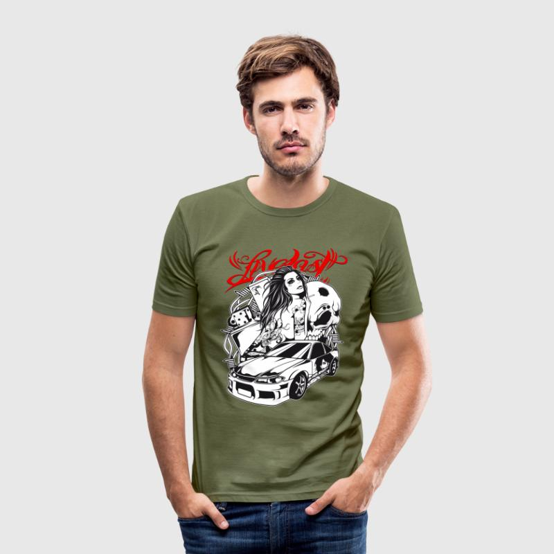 Live Fast - Tuning Car Girl T-Shirts - Männer Slim Fit T-Shirt