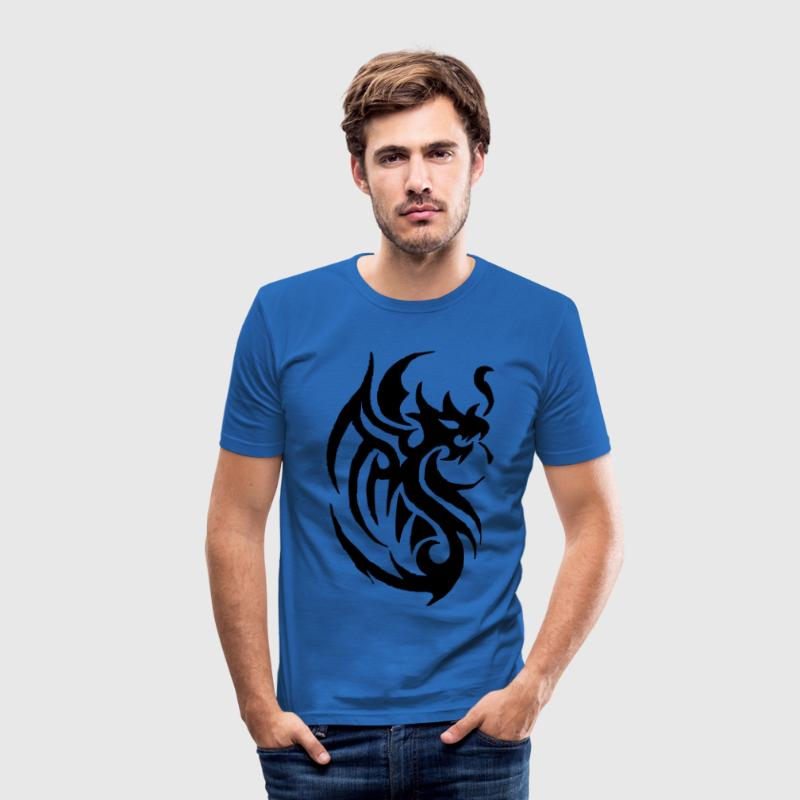 tribal tattoo dragon T-Shirts - Men's Slim Fit T-Shirt