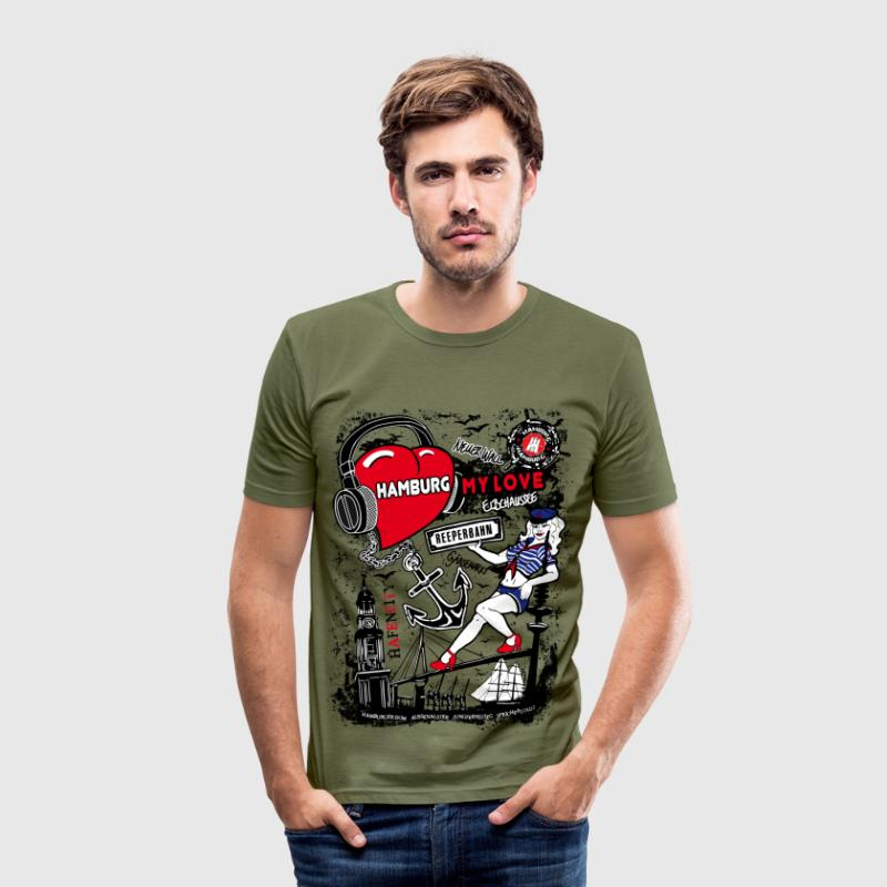 Hamburg My Love Herren T-Shirt - Braun - Männer Slim Fit T-Shirt
