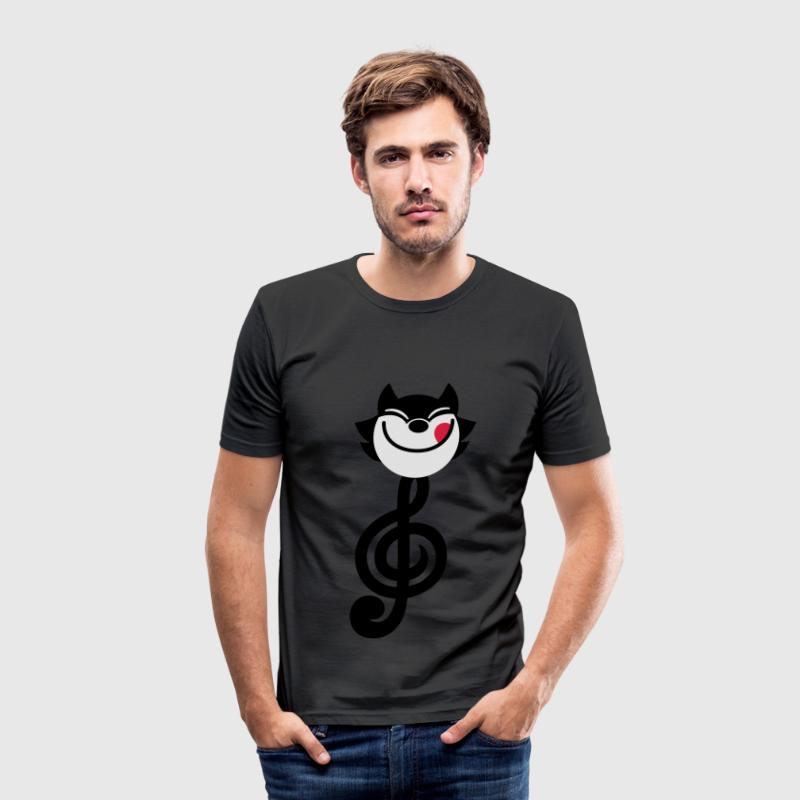 Tecknad Trebleklaven katt av Cheerful Madness!! T-shirts - Slim Fit T-shirt herr
