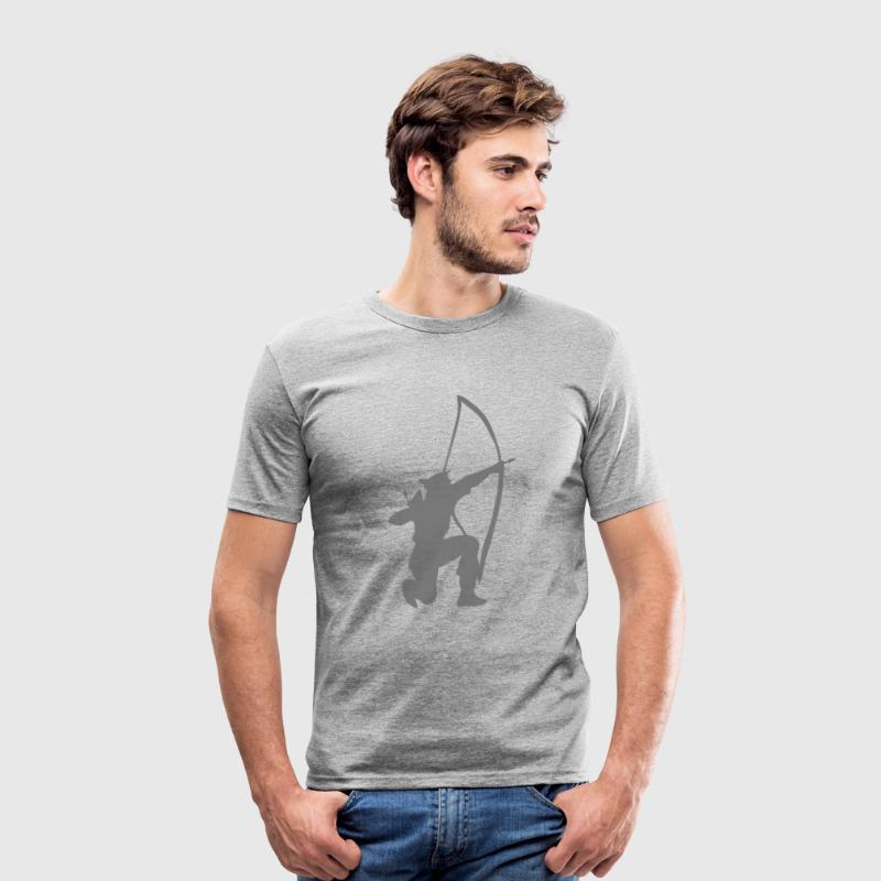 archer longbow kneeling stance by patjila T-Shirts - Men's Slim Fit T-Shirt