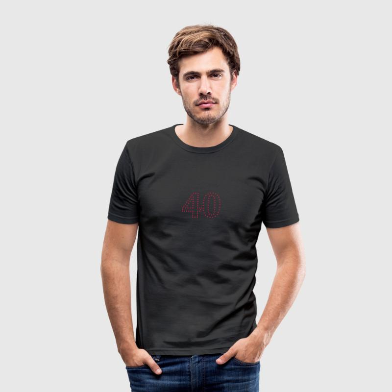 Pünktchen Zahl 40 / dotty number 40 (1c) T-Shirts - Men's Slim Fit T-Shirt