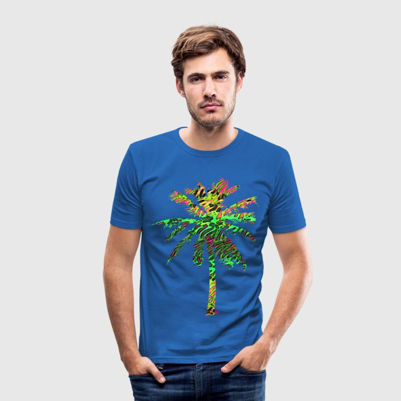 neon flamingo palme T-Shirts - Männer Slim Fit T-Shirt