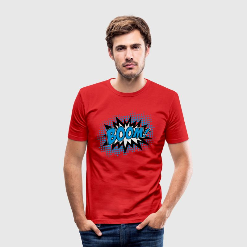 BOOM!, Comic Style Speech Bubble Bang, Kapow, Pow  - Männer Slim Fit T-Shirt