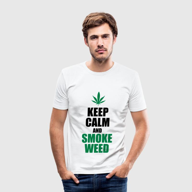 Keep Calm and Smoke Weed Tee shirts - Tee shirt près du corps Homme