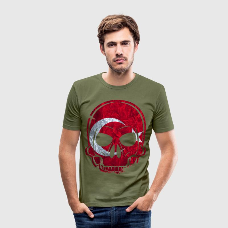 MMJ Turkey Flag Skull / Skull T-Shirts - Men's Slim Fit T-Shirt