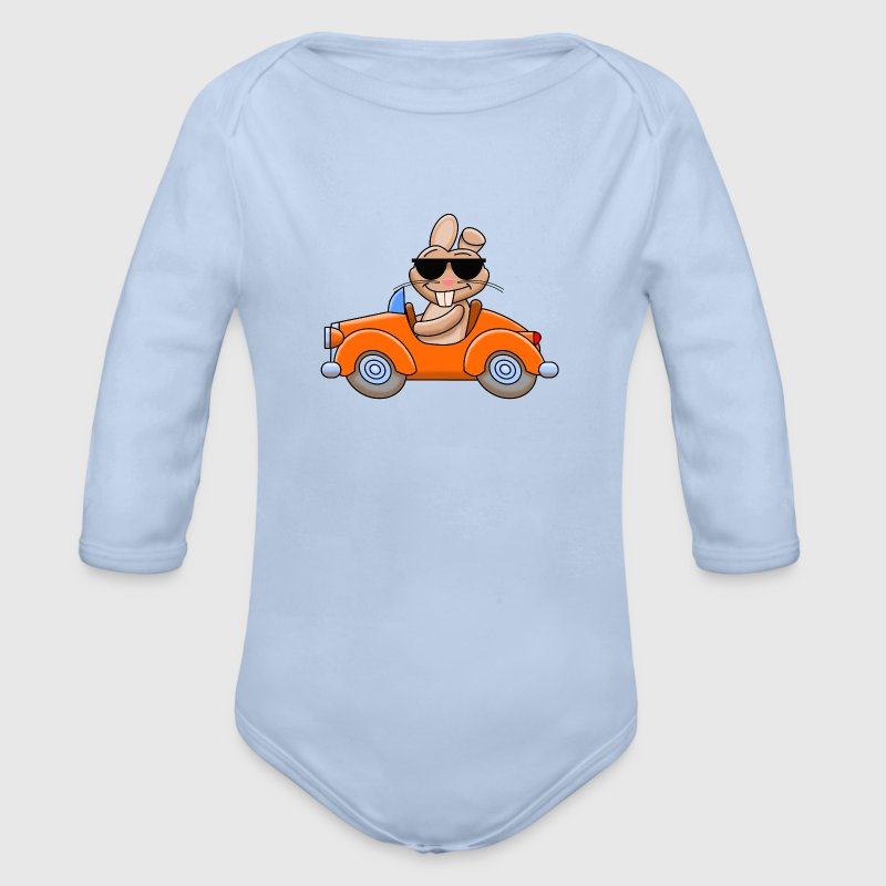 Cooler Hase fährt Auto Pullover & Hoodies - Baby Bio-Langarm-Body