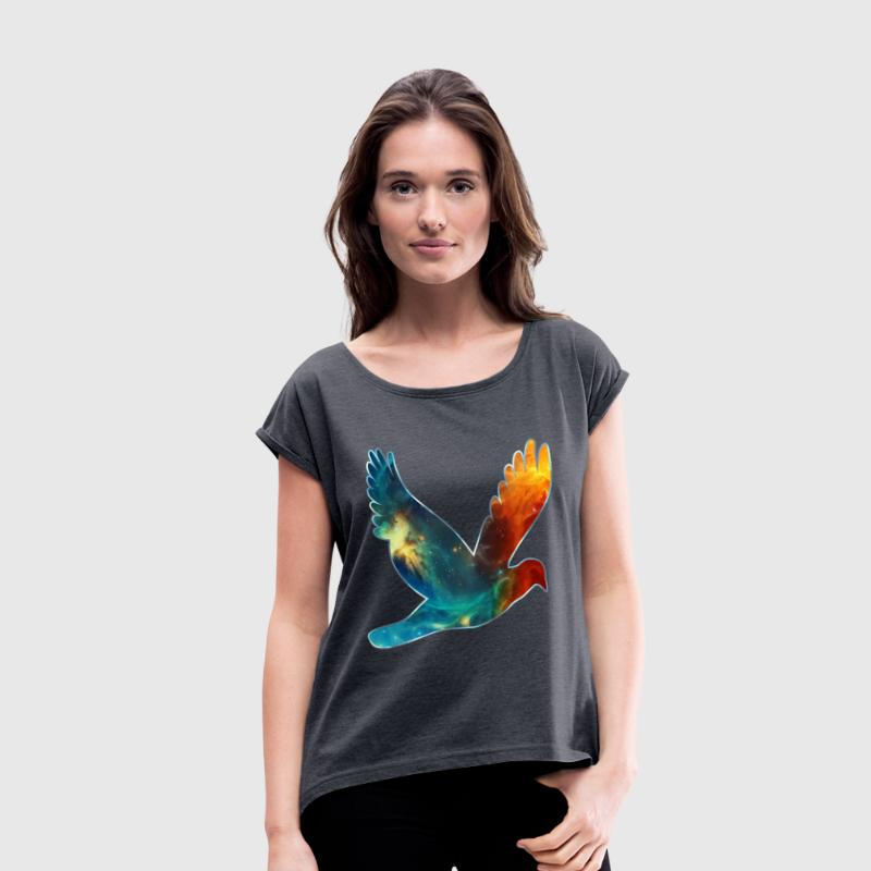 Space bird, cosmos, universe, space, galaxy T-Shirts - Women's T-shirt with rolled up sleeves