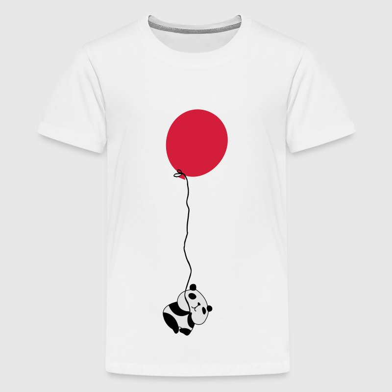 Panda Flying Balloon Shirts - Teenage Premium T-Shirt