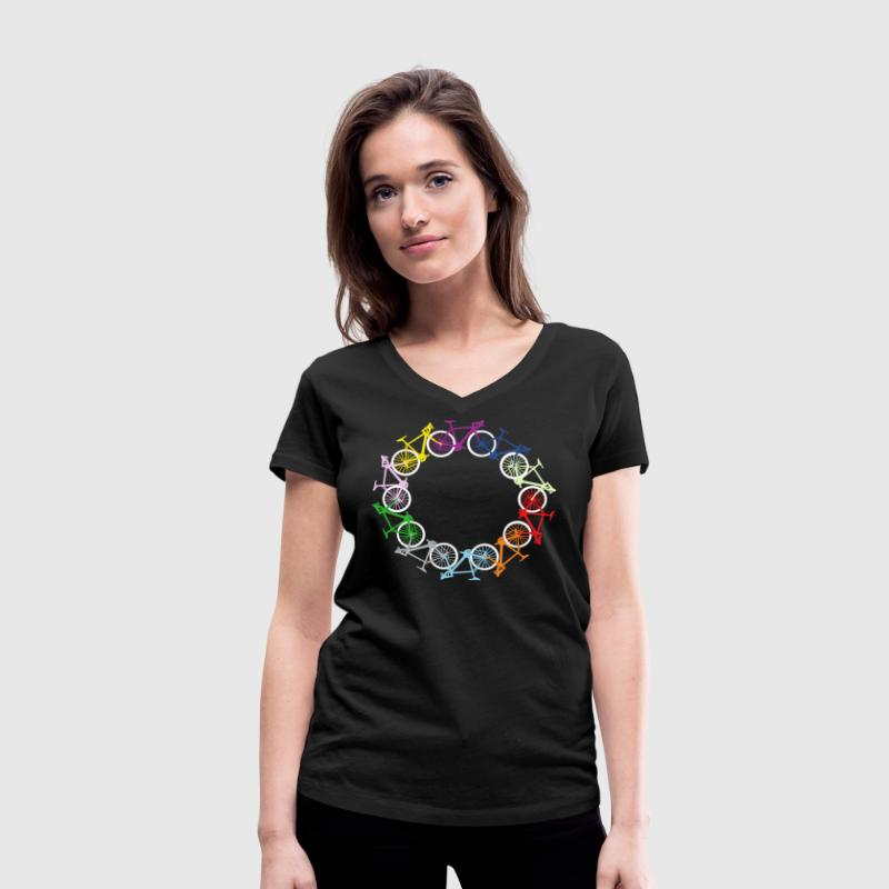 Circle of bikes T-Shirts - Women's Organic V-Neck T-Shirt by Stanley & Stella