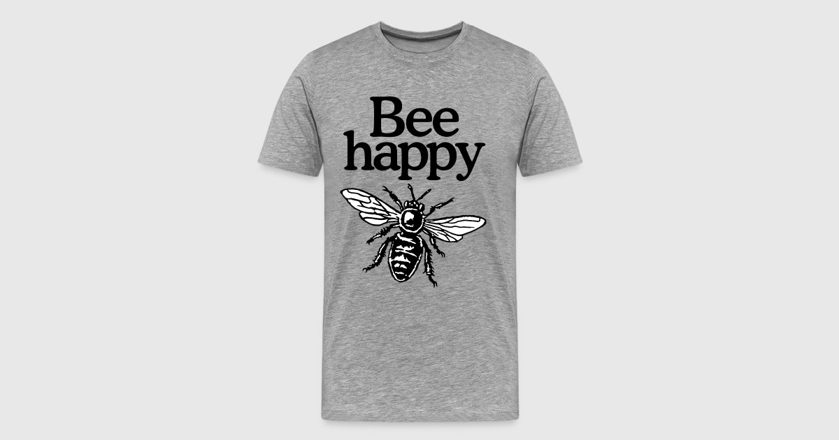 Bee happy imker design zweifarbig t shirt spreadshirt for One color t shirt design inspiration
