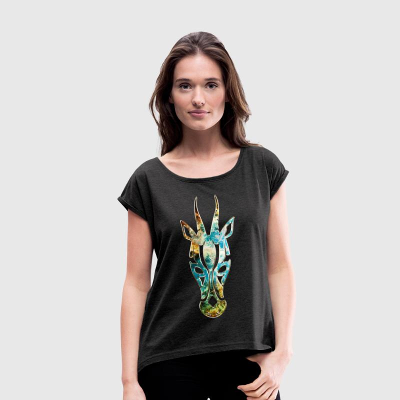 Antelope, Africa Space, cosmos, galaxy, outerspace T-Shirts - Women's T-shirt with rolled up sleeves