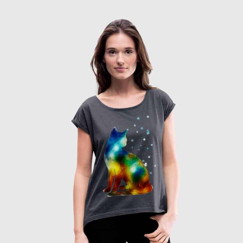 Space Cat on the Milky Way, Galaxy, Pussy, Star Tee shirts - T-shirt à manches retroussées Femme