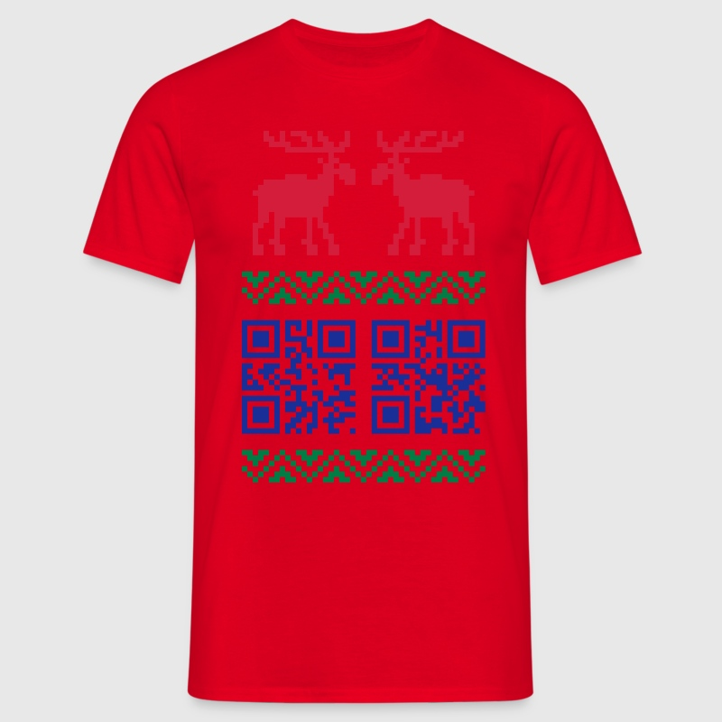 Ugly Christmas Sweater QR Code Happy New Year! Tee - Men's T-Shirt