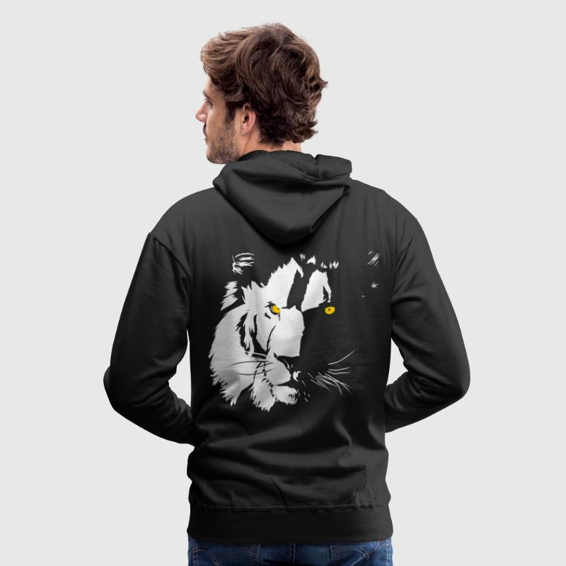 lion blanc.png Sweat-shirts - Sweat-shirt à capuche Premium pour hommes