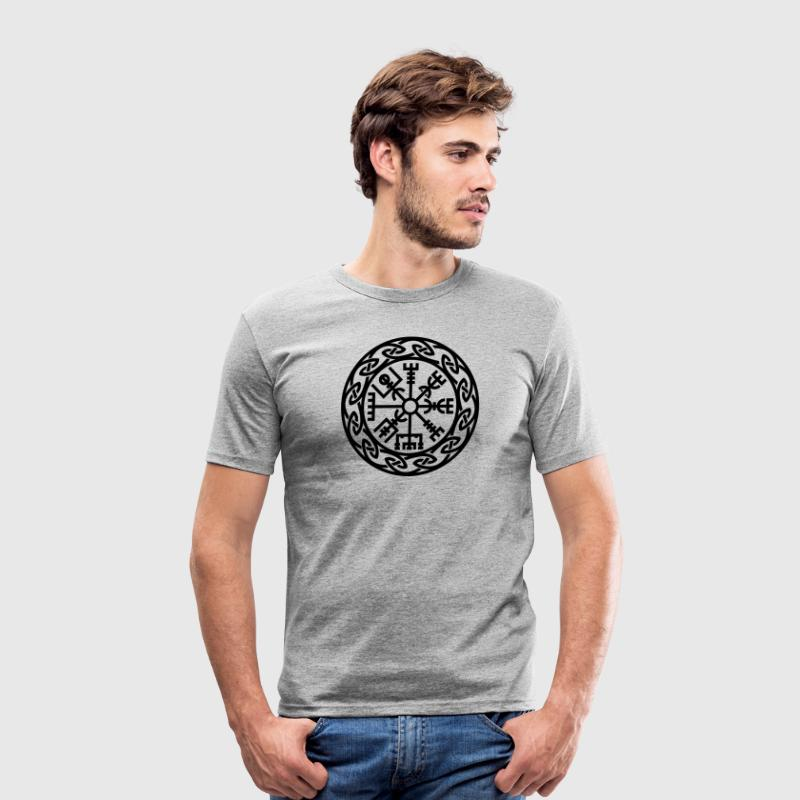 Vegvísir, Iceland, Magic Rune, Protection compass T-shirts - Herre Slim Fit T-Shirt