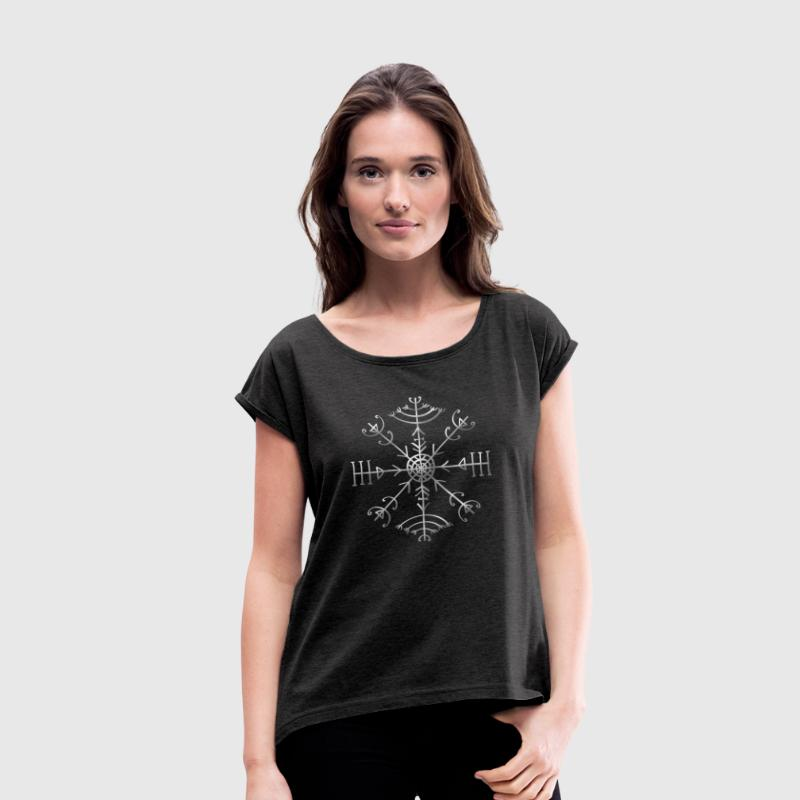 Veldismagn - Fortune & Protection Symbol, Iceland T-Shirts - Women's T-shirt with rolled up sleeves