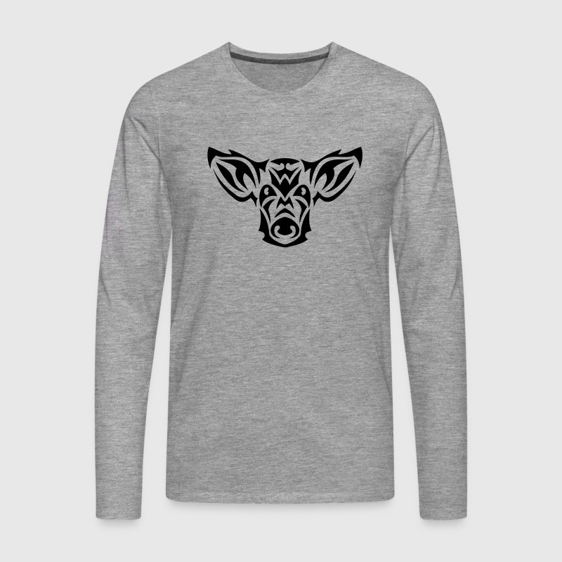 cochon tribal tete tattoo 19093 Manches longues - T-shirt manches longues Premium Homme
