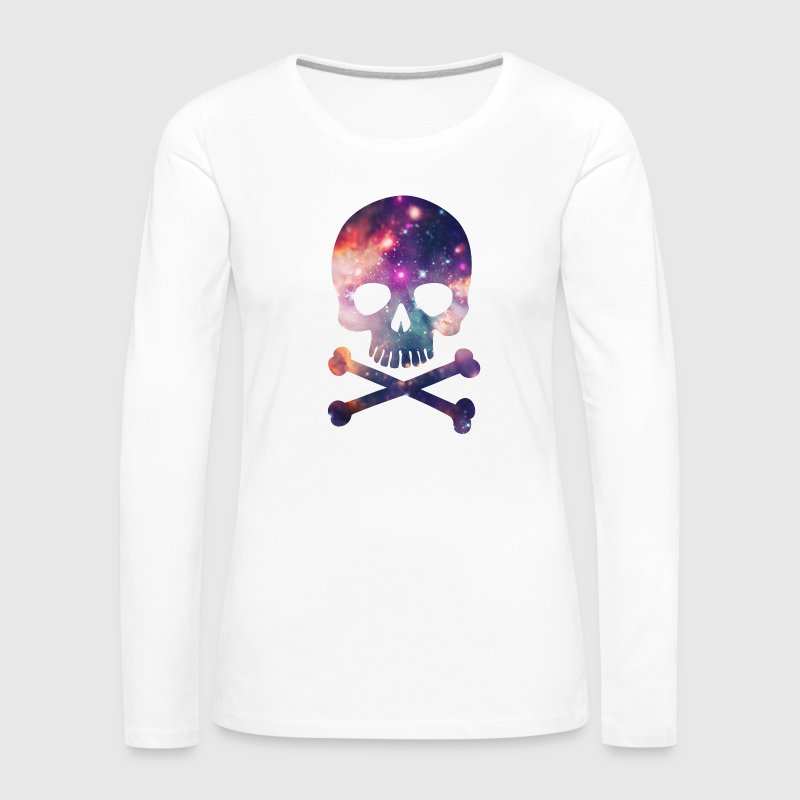 Pink / Purple Universe - Space - Galaxy Skull Long Sleeve Shirts - Women's Premium Longsleeve Shirt
