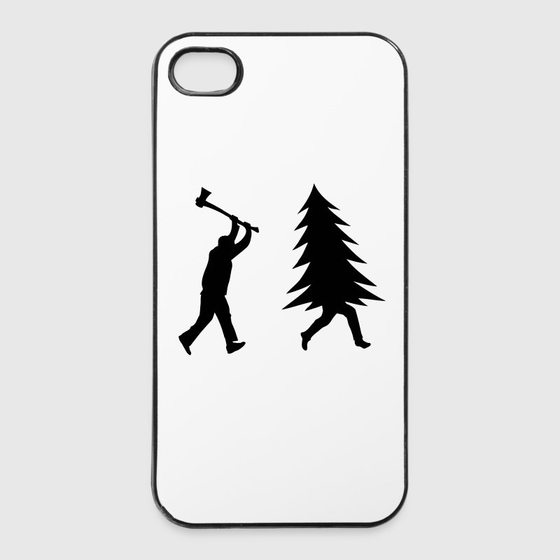 Funny Christmas tree is chased by Lumberjack Phone & Tablet Cases - iPhone 4/4s Hard Case