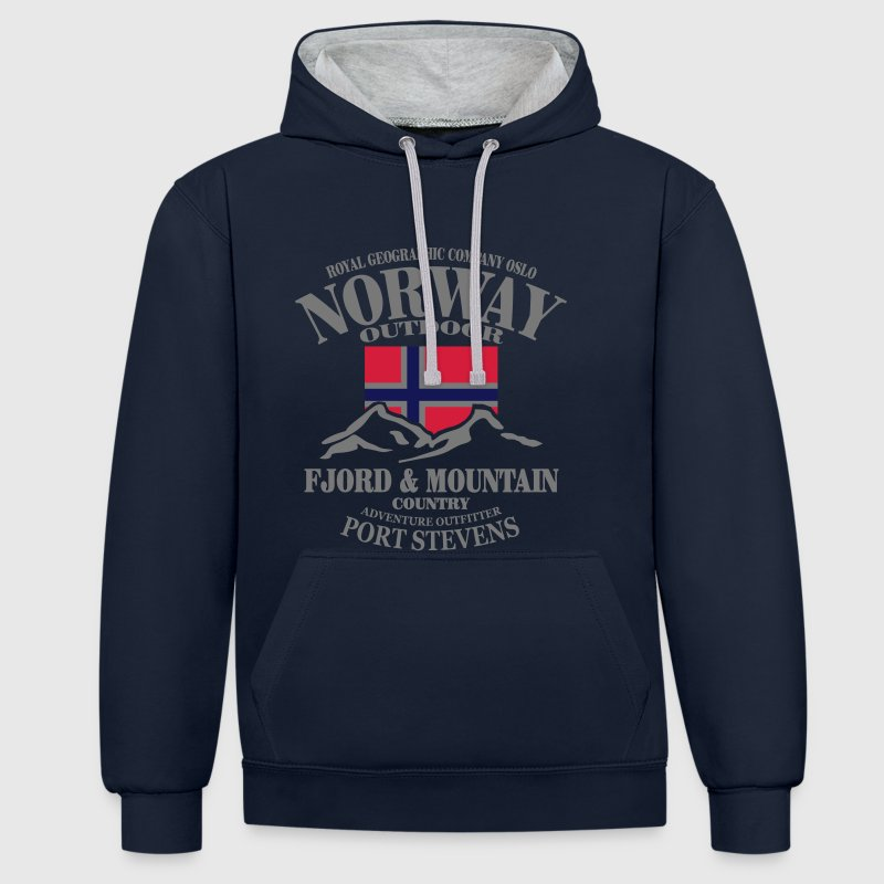 Norway - Fjord & Mountain Hoodies & Sweatshirts - Contrast Colour Hoodie