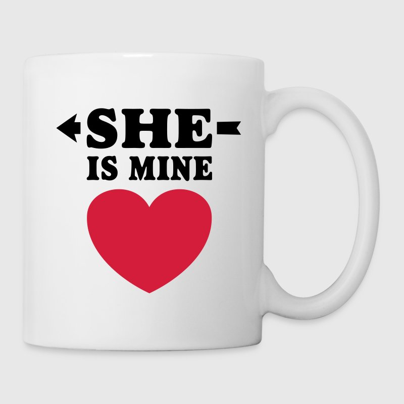 She is Mine I love you my Girlfriend te amo mi nov Tazas y accesorios - Taza