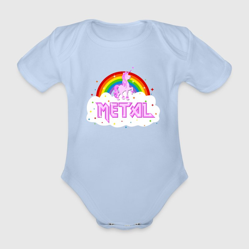 metal musik heavy einhorn regenbogen pink lustig baby body spreadshirt. Black Bedroom Furniture Sets. Home Design Ideas