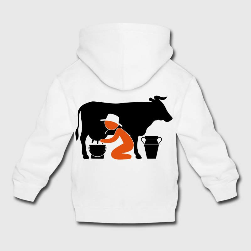 Farmer at milking a cow Hoodies - Kids' Premium Hoodie