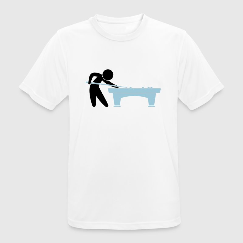 A pool player is on the pool table T-Shirts - Men's Breathable T-Shirt