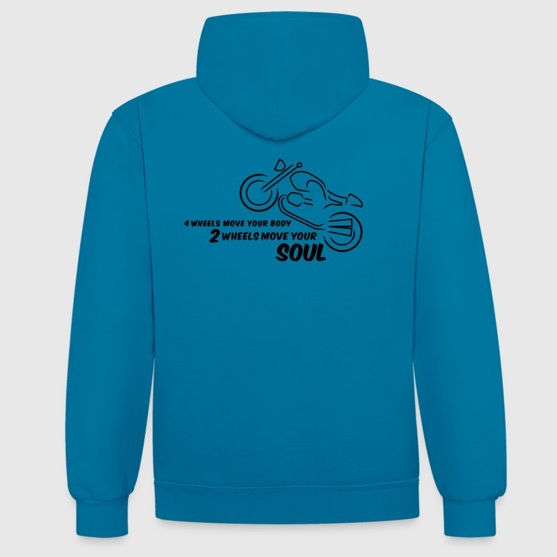 2 wheels move your body - blue Sweater - Kontrast-Hoodie