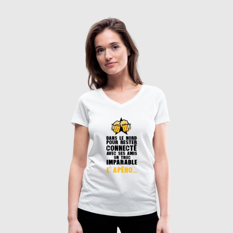 nord connecte amis apero alcool humour Tee shirts - T-shirt bio col V Stanley & Stella Femme