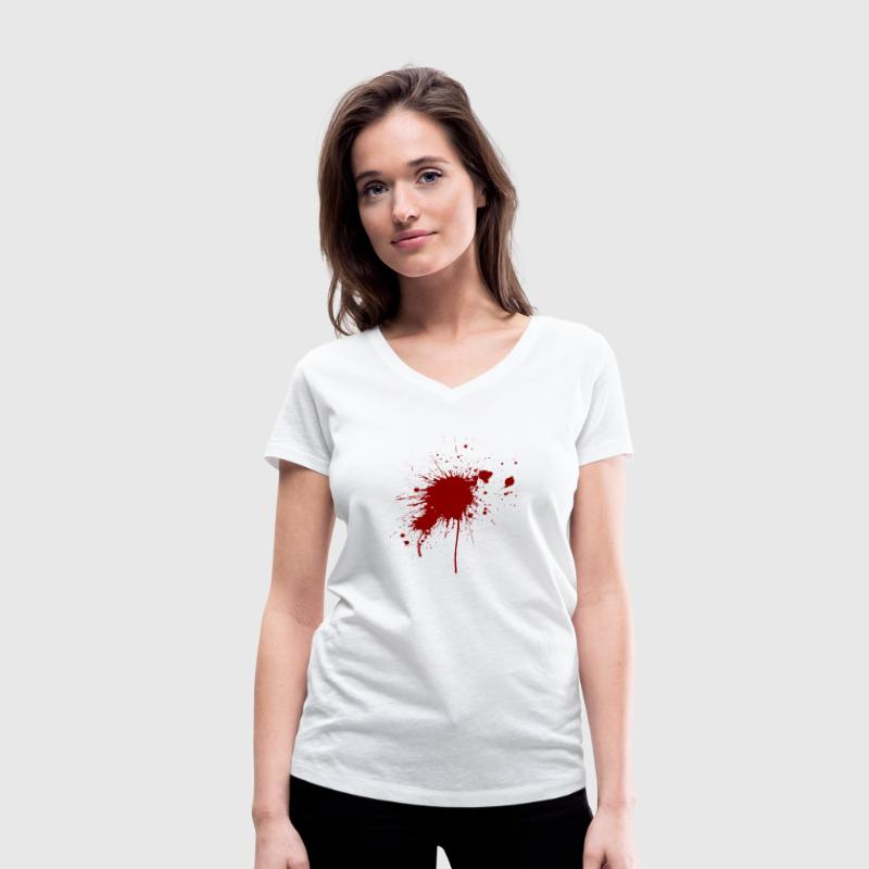 Blood spatter from a bullet wound T-Shirts - Women's Organic V-Neck T-Shirt by Stanley & Stella