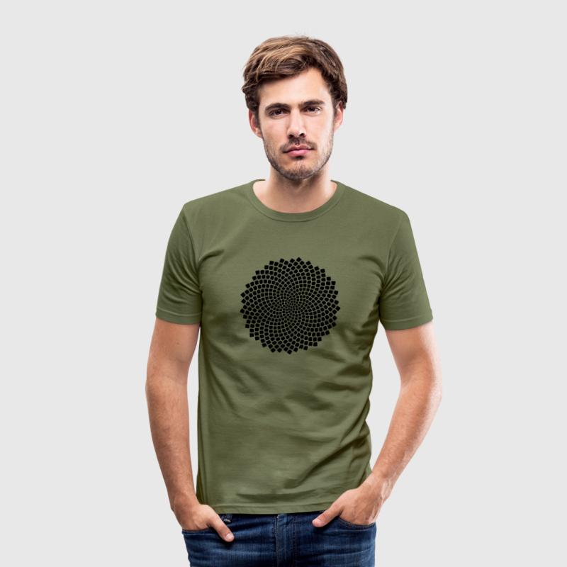 Fibonacci Spiral, Sunflower Seed, Mathematics, Phi - Men's Slim Fit T-Shirt