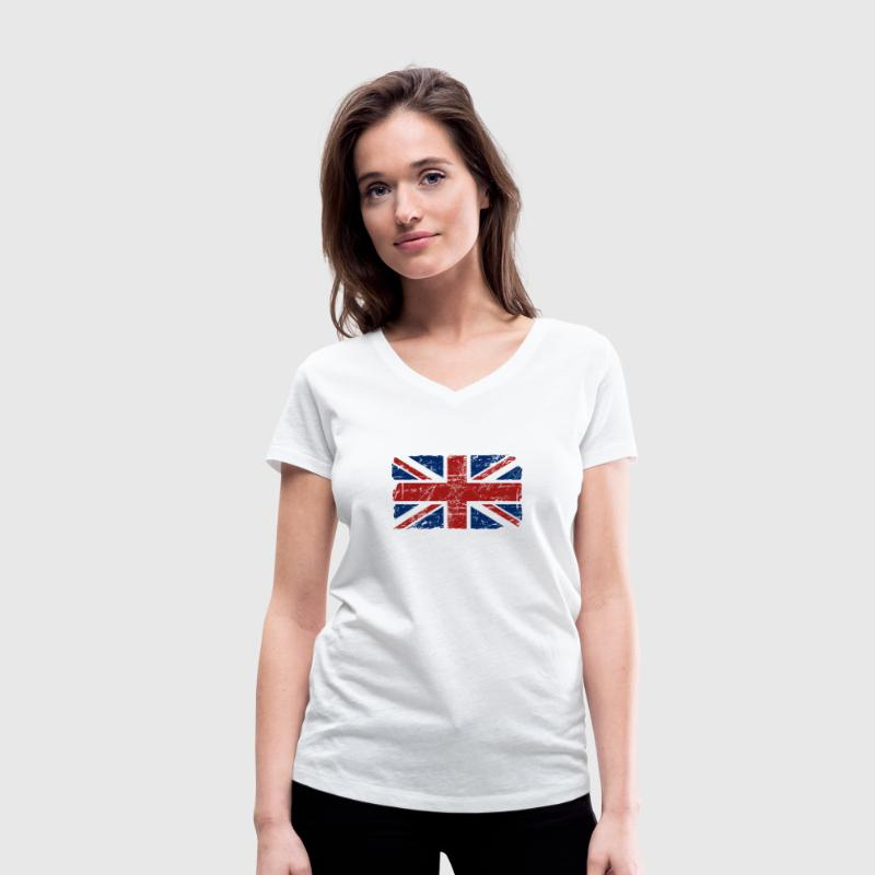Union Jack - UK - Vintage Look  T-Shirts - Women's Organic V-Neck T-Shirt by Stanley & Stella